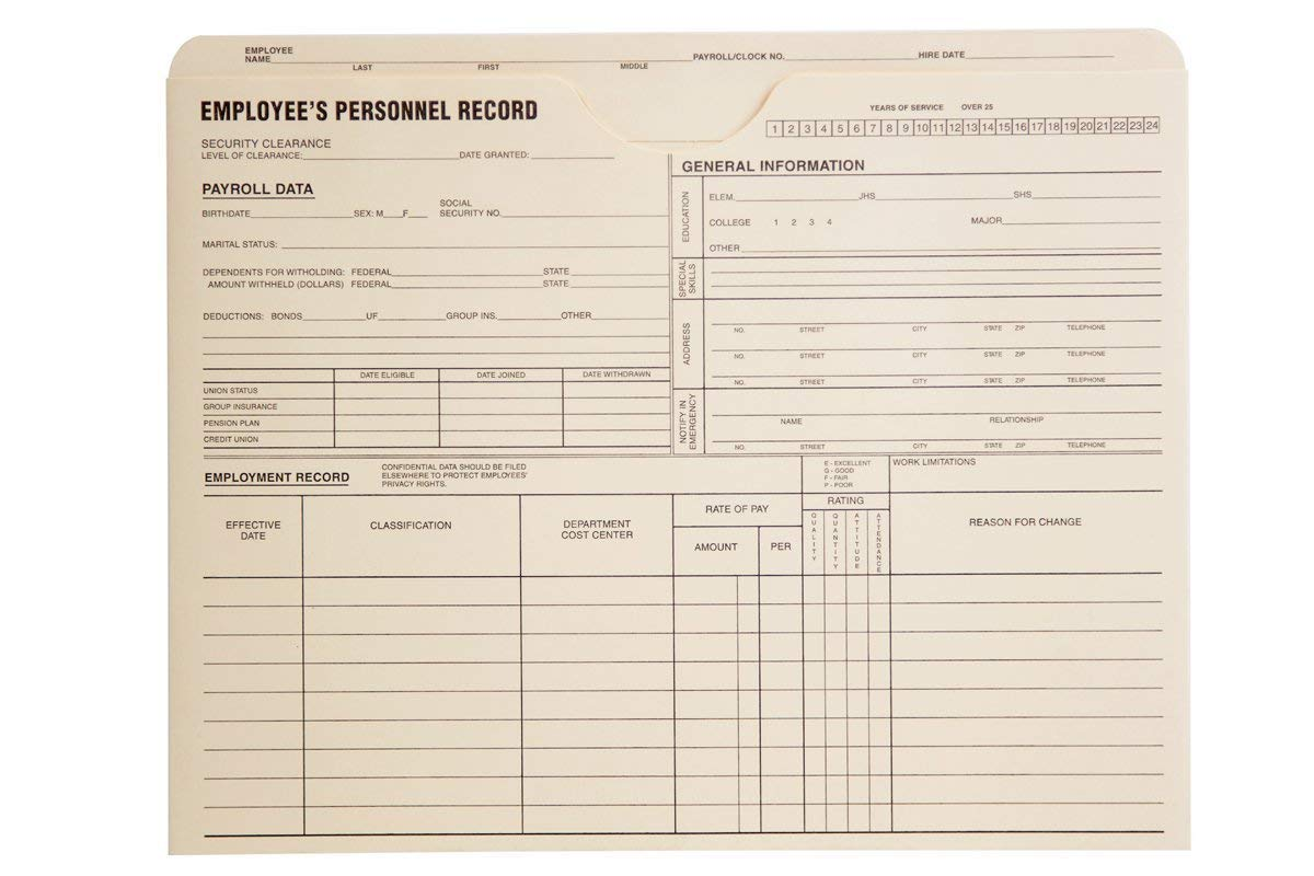 Quality Park Personnel Record Jacket, Flat Expansion, 9-1/2 x 11-3/4 Inches (2 X Box of 100) by Quality Park