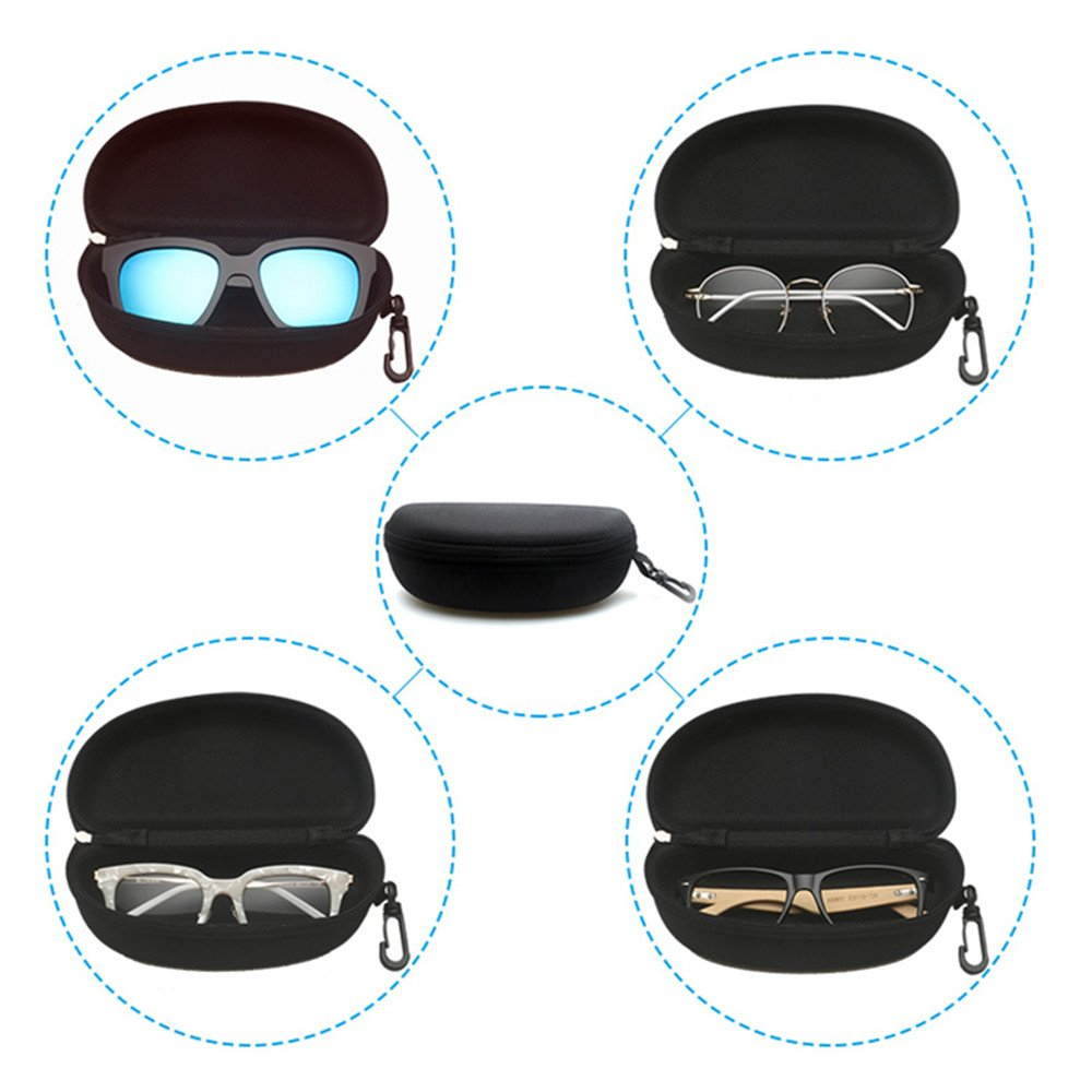 sunglasses case portable hard zipper eyeglass case box with carabiner hook
