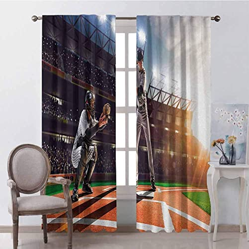 GUUVOR Teen Room Premium Blackout Curtains Professional Baseball Players in The Stadium Playing The Game Pich Sports Print Kindergarten Noise Reduction Curtains W84 x L84 Inch Multicolor