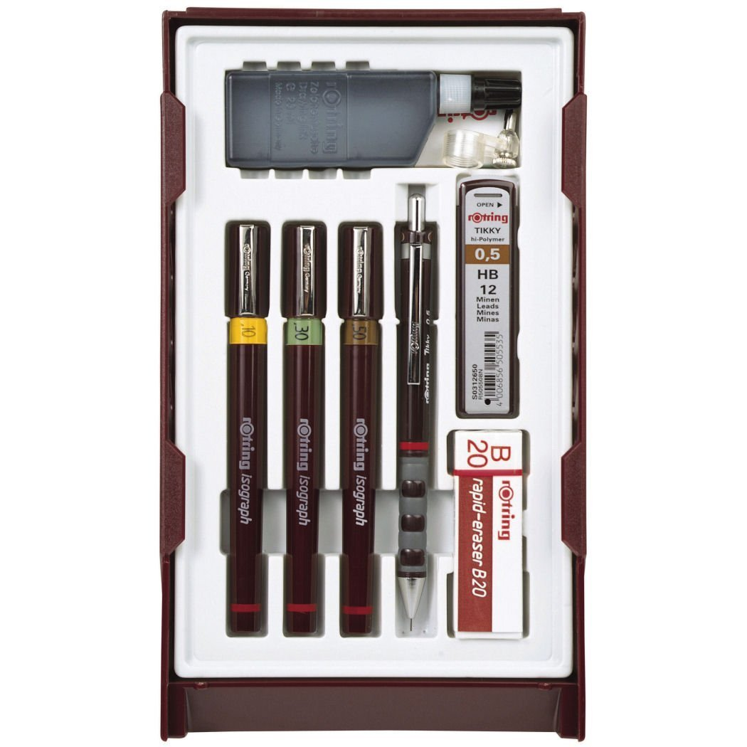 rOtring S0699370 Isograph Technical Drawing Pens, Set, 3-Pen College Set (.20-.50 mm),Brown