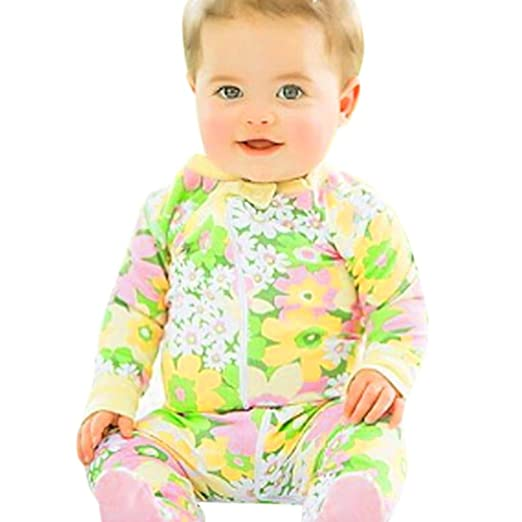 274164239f Connia Newborn Infant Fashion Jumpsuit Baby Boys Girls Floral Print Zipper  Romper Outfits Clothes (Yellow