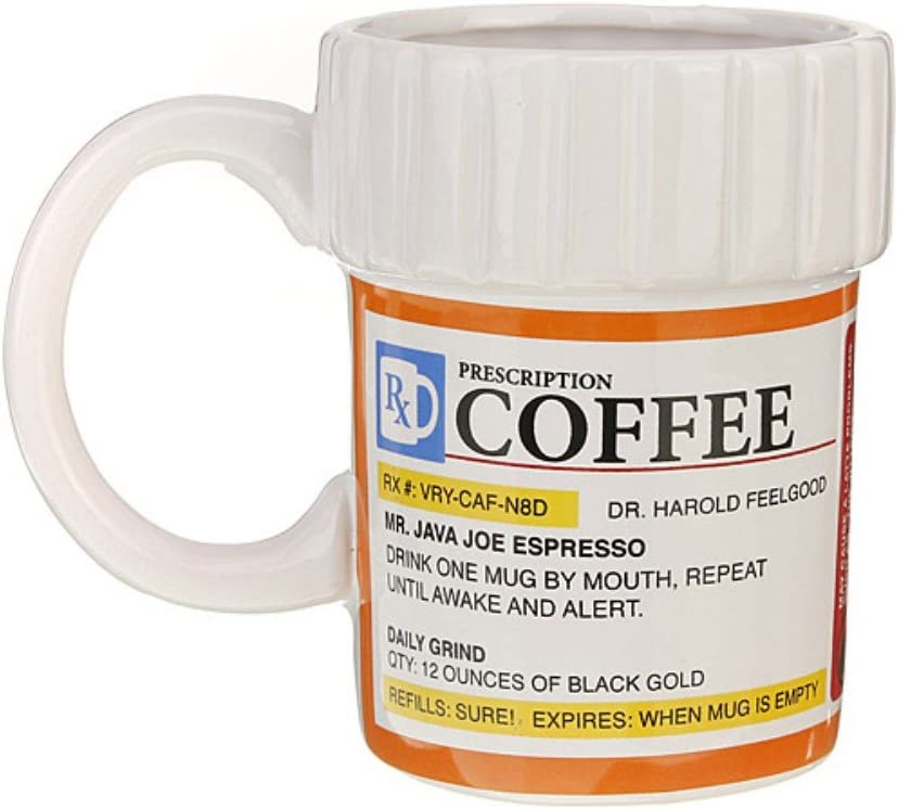 Forest Dream - Taza de café con diseño de bote de medicamentos con receta en inglés, de cerámica, para uso doméstico, en exteriores o fiestas
