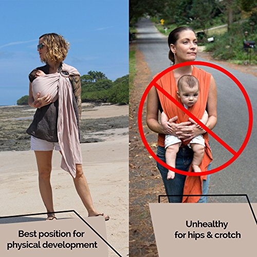 Luxury Ring Sling Baby Carrier – extra-soft bamboo and linen fabric - lightweight wrap - for newborns, infants and toddlers - perfect baby shower gift – great for new Dad too - nursing cover by Pura Vida Slings (Image #3)