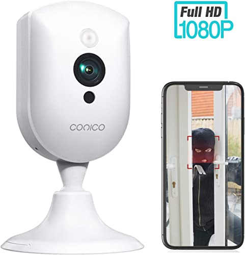 Wireless Security Camera, Conico 1080P Wireless Camera with Sound Motion Detection IR Night Vision, Home Camera with 2- Way Audio 8X Zoom, WiFi Camera Cloud Service Compatible with Alexa, 2.4G WiFi