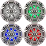 1- Pair (2-Speakers) Kicker 6.5'' 195W LED Marine Audio Coaxial Stereo Multi Color LED Lights, Silver Grills