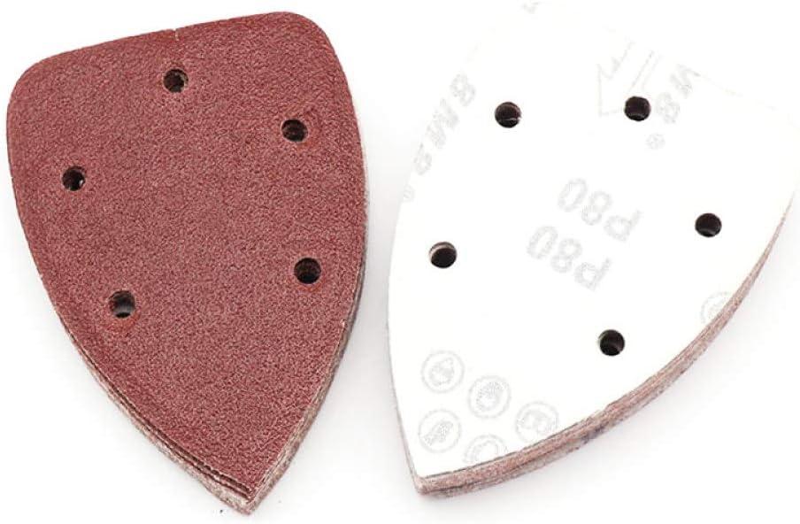 10 piezas de papel de lija autoadhesivo Lijadora triangular Papel de lija Gancho Loop Disco de papel de lija Herramientas abrasivas para pulir Grano 40-400,100,140X90MM
