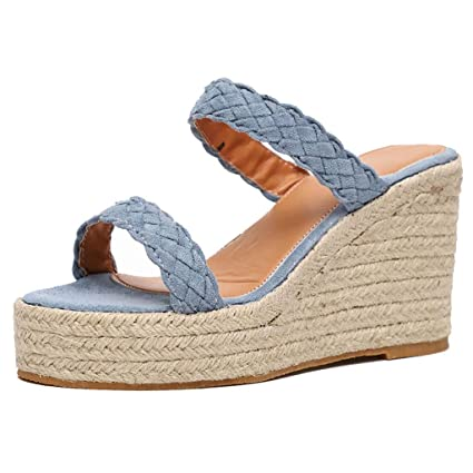 49b75660fc VEZARON Wedges Slippers Hemp Rope Plantar Fasciitis Feet Sandal with Arch  Support - Best Orthotic flip