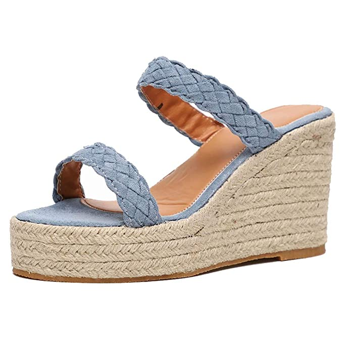 d5d323cae Image Unavailable. Image not available for. Color: BOLUBILUY Womens Hemp  Rope Platform Wedge Sandals Mid Heel ...