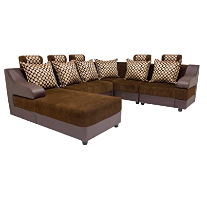 Lifestyle Solutions Zikra's Brown Sal Wood 6 Seater Sofa L-Shaped Set For Living Room