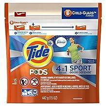 Tide Pods + Febreze Sport Odor Defense Laundry Pacs, Active Fresh Scent, Regular & He Washers, 15 Count