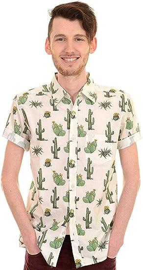 Run & Fly Hombre Años 70 Años 80 Retro Indie Cactus Camisa Manga Corta - Vainilla, M: Amazon.es: Ropa y accesorios