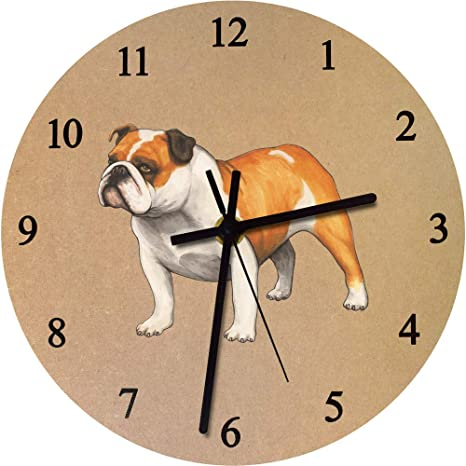 Azeeda 275mm Bulldog Inglés Reloj de Pared Grande de MDF (CK00025118)