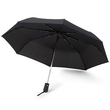 GadHome - Paraguas Automático Negro | Paraguas de Viaje Compacto a Prueba de Viento de 29 cm para Hombre y Mujer | Paraguas Plegable de Mano Ligero ...