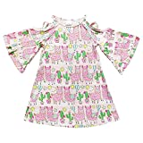 So Sydney Toddler & Girls Ruffle Flare Sleeve Criss Cross Cold Shoulder Dress (S (3T), Llama Pink)