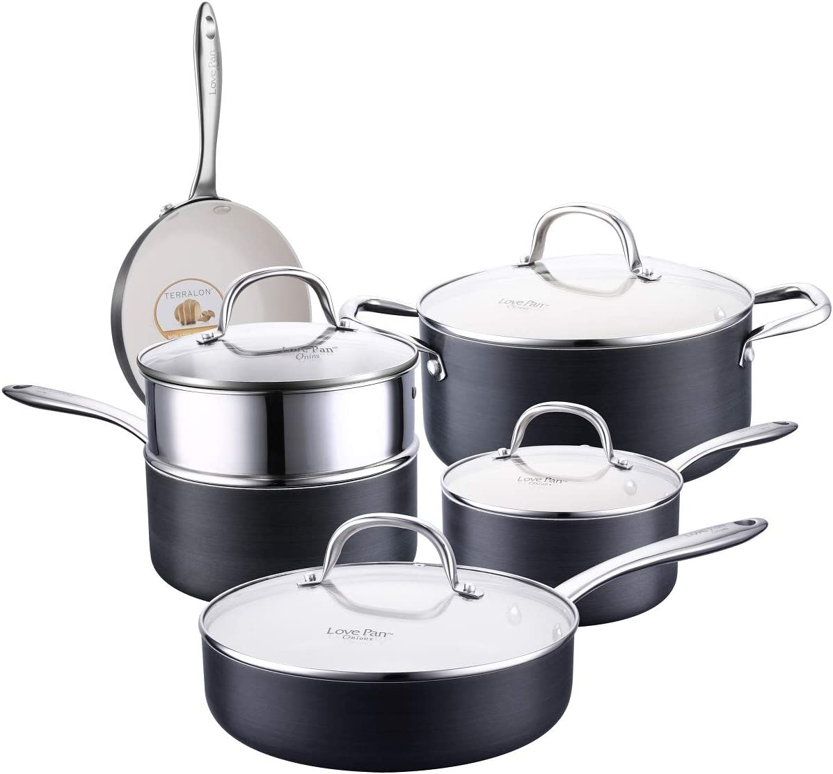 LOVE PAN 10 Piece Black Hard Anodized Aluminium Nonstick Cookware Set-Nonstick Ceramic Pots and Pans Set with Sturdy Glass Lids Sauce Pan with Steamer Insert