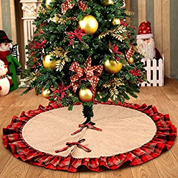OurWarm Linen Burlap Christmas Tree Skirt Red Black Plaid Ruffle Edge Border Large 48 Inches Round