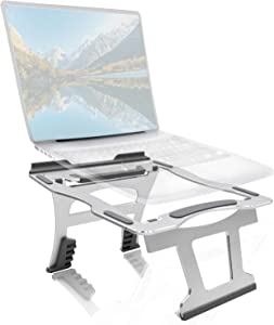 Laptop Stand, Strong Support Multi-Angle AL Cooling Computer Stand, Foldable Portable Laptop Holder for Desk Cervical Spine Protection