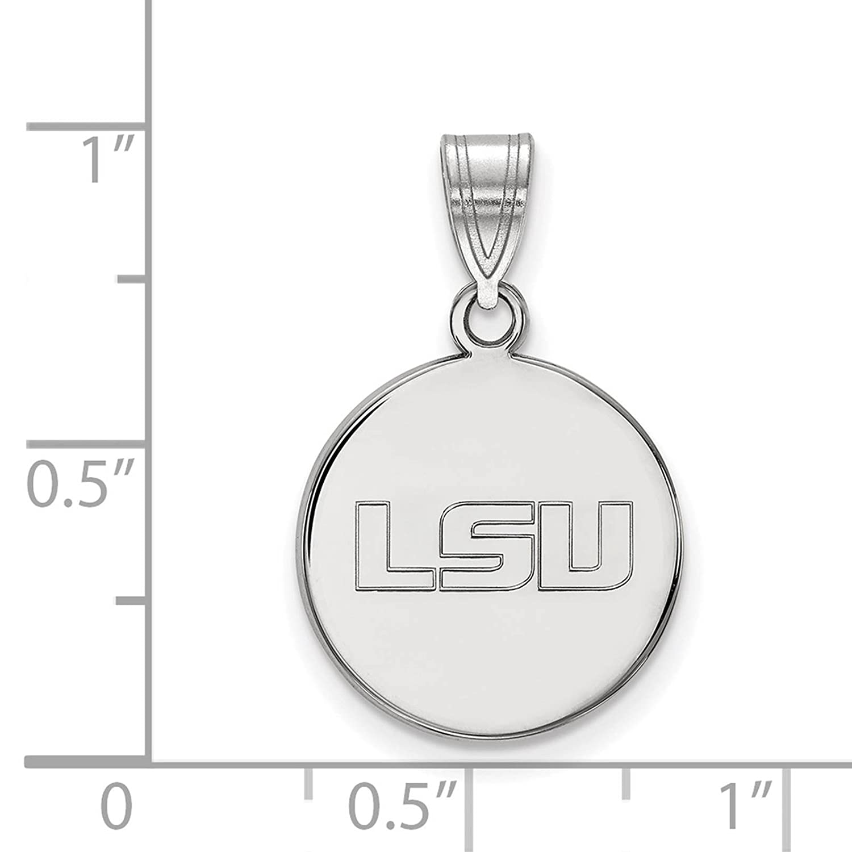 925 Sterling Silver Rhodium-plated Laser-cut Louisiana State University Medium Disc Pendant