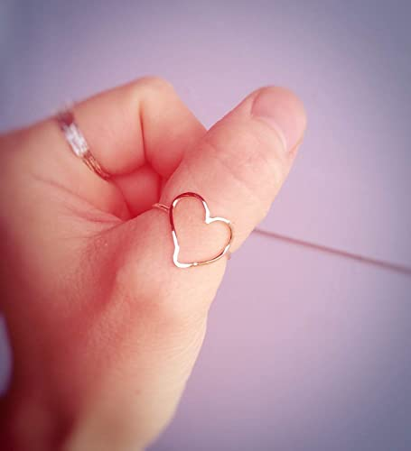 Stunning Handmade Hammer Finished Gold Heart Sterling Silver Stacking Ring