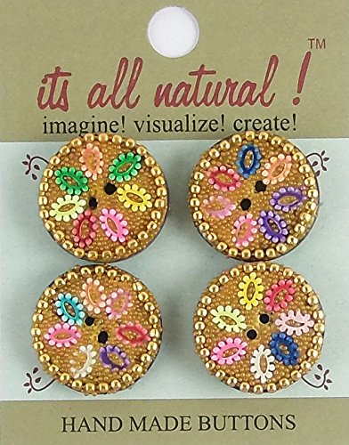 Multi Color Glass Buttons - Glass Cavier Buttons - Natural Handmade - Multicolor - 25mm - Flower Design - 4 pcs/pk