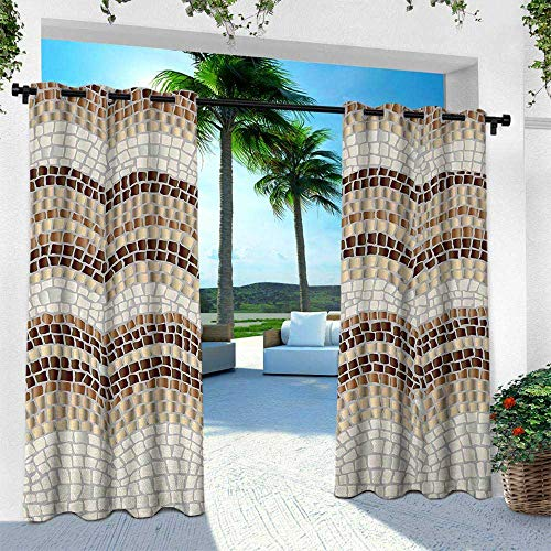 (Hengshu Beige, Indoor/Outdoor Single Panel Print Window Curtain,Gradient Colored Mosaic Waves Setting Antique Roman Royal Dated Retro Patterns, W84 x L108 Inch, Beige Tan)