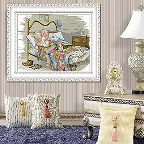 Joy Sunday Stamped Cross Stitch kits Cross Stitch Pattern The Old Married Couple with 11CT Printed Fabric DMC Cross-stitch Hand Embroidery Kit Needlework DMC 23x18