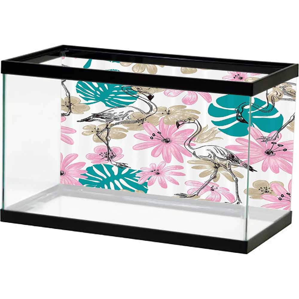 SLLART Pictures Underwater Backdrop Nautical Decor Collection,Flamingo and Flowers Exotic Garden Birds Animal Blooms Leaves Pattern,Dark Turquoise Pink Easy Paste by SLLART