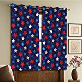 imag ii - Custom design curtains/Vintage Lace Window Curtain/Grommet Top Blackout Curtains/Thermal Insulated Curtain For Bedroom And Kitchen-Set of 2 Panels(can Flag Inspired Patriotic Design with Stars Imag)