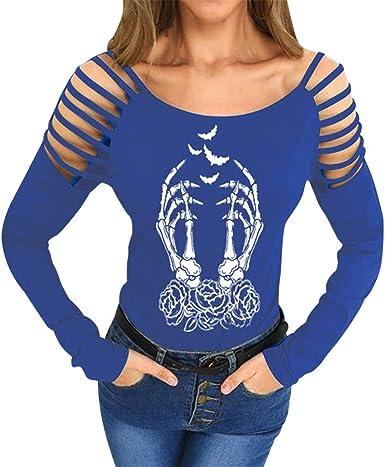 WARMWORD Camiseta con Estampado de Esqueleto y Rosa de Mujer Camisas Casual Fuera del Hombro Cuello Redondo Manga Larga Blusa Suelto Talla Extra Manga Larga Pullover Tops Camisa: Amazon.es: Ropa y accesorios