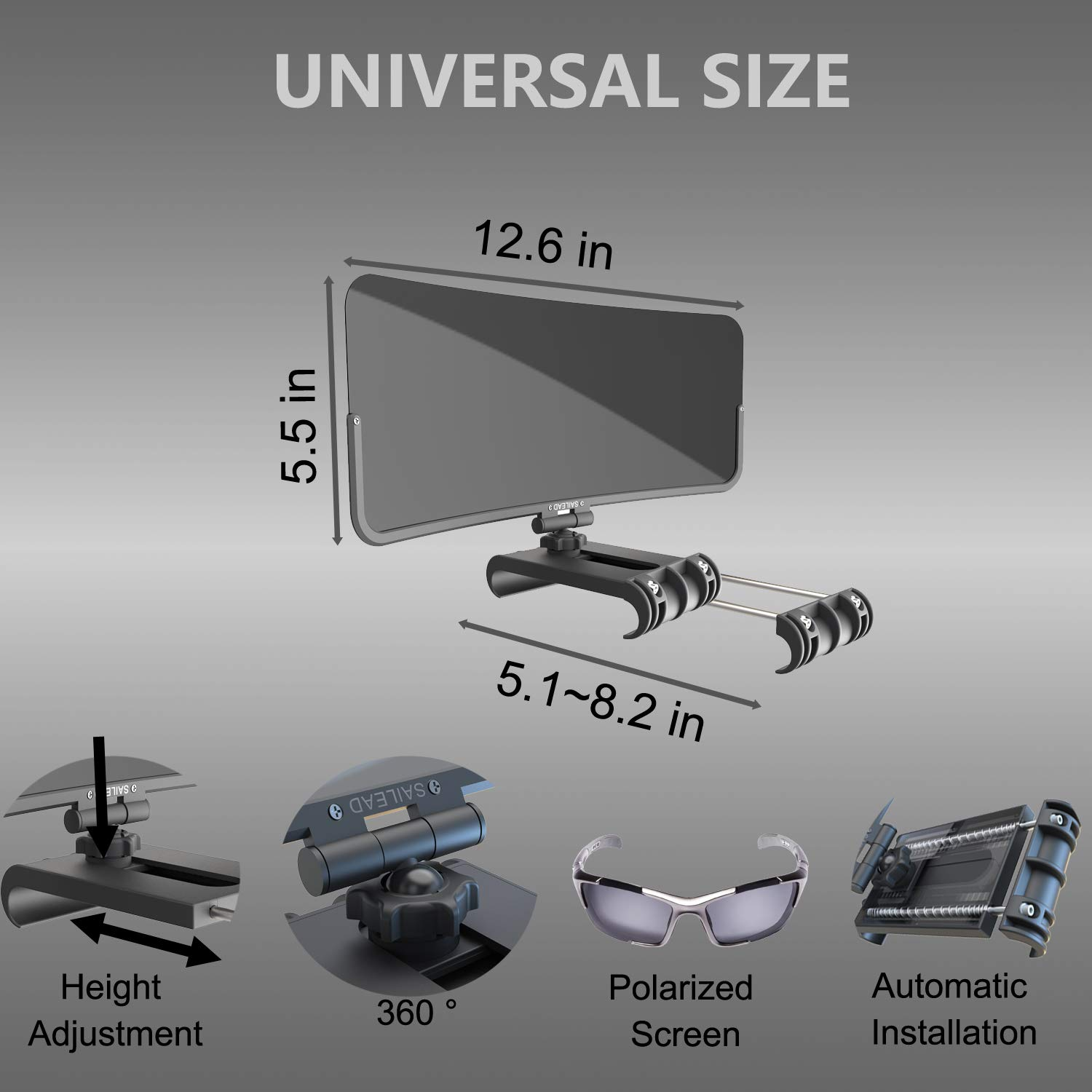 SUVs and RVs SAILEAD Automatic Installation Polarized Sun Visor Extender for Car UV Rays Polycarbonate UV400 Car Sun Visor Protects from Sun Glare Universal Fits Visor Width 5.1 to 8.2 Inches