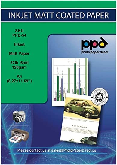PPD Inkjet Matt Coated Photo Quality Paper A4 120gsm x 100 sheets Buy 1 Get 1 FREE PPD-54-100-BOGOF