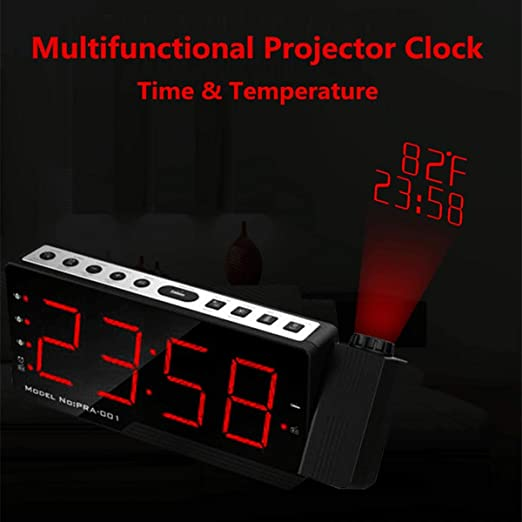 Gkjhkjhty Relojes de Alarma Despertador Proyector LED Pantalla ...