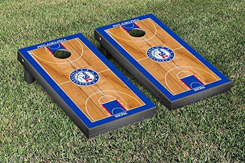 Philadelphia Sixers 76ers NBA Basketball Regulation Cornhole Game Set Basketball Court Version by Victory Tailgate