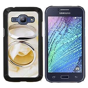 TECHCASE---Cubierta de la caja de protección para la piel dura ** Samsung Galaxy J1 J100 ** --Anillo Pareja
