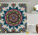 Mandala Decor Shower Curtain by Ambesonne, Retro Turkish with Unique Leaf Flower Figures Meditation Ritual Tribal Art Print , Fabric Bathroom Decor Set with Hooks, 75 Inches Long, Multi