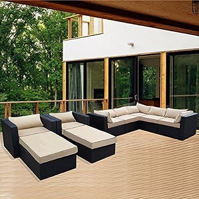 OUTT® 9pcs Outdoor Patio Rattan Sofa Wicker Sectional Sofa Garden Furniture Set
