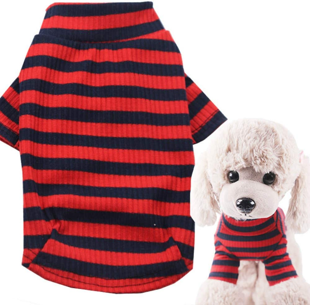 Fashion Cute Soft Warm Winter Indoor Wear Pajamas for Puppy Dog Cat Pet Turtleneck Stripe Design Pullover Pet Dog Clothes Coat Shirt Sweater Knitwear S,Red
