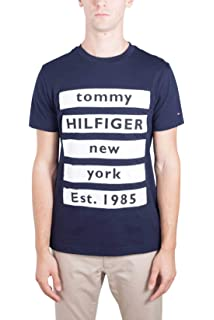 cec8808f0db06 Tommy Hilfiger Homme T-Shirt à Manches Longues, Bleu, Medium  Amazon ...