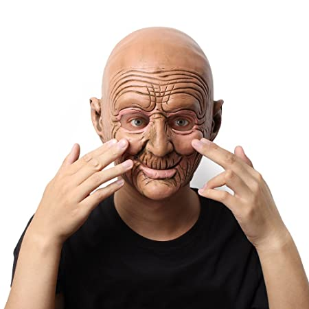 hepheas halloween costume party latex horror head mask for kids or adults bald old sc 1 st amazon uk