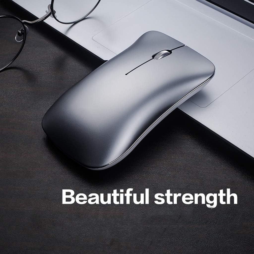 Color : Black Queen Boutiques Aluminum Alloy Silent Rechargeable Wireless Mouse