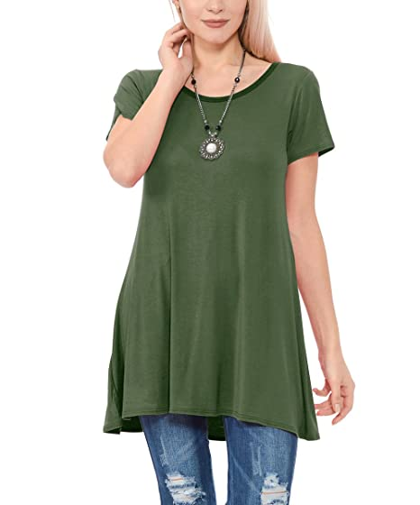 TOPONSKY Women s Flow Tunic Shirts Short Sleeve Scoop Neck Loose Fit Casual  Top at Amazon Women s Clothing store