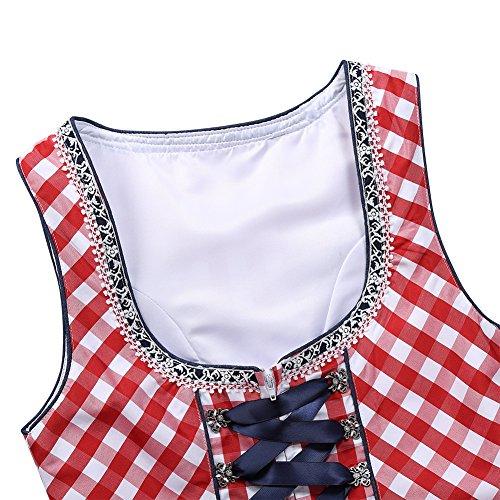 pezzi KOJOOIN Abito Tradizionale in Dirndl Camicetta Plaid Midi Abito da Costumi Rosso per Grembiule Oktoberfest Tre Donna q4wrR7qP