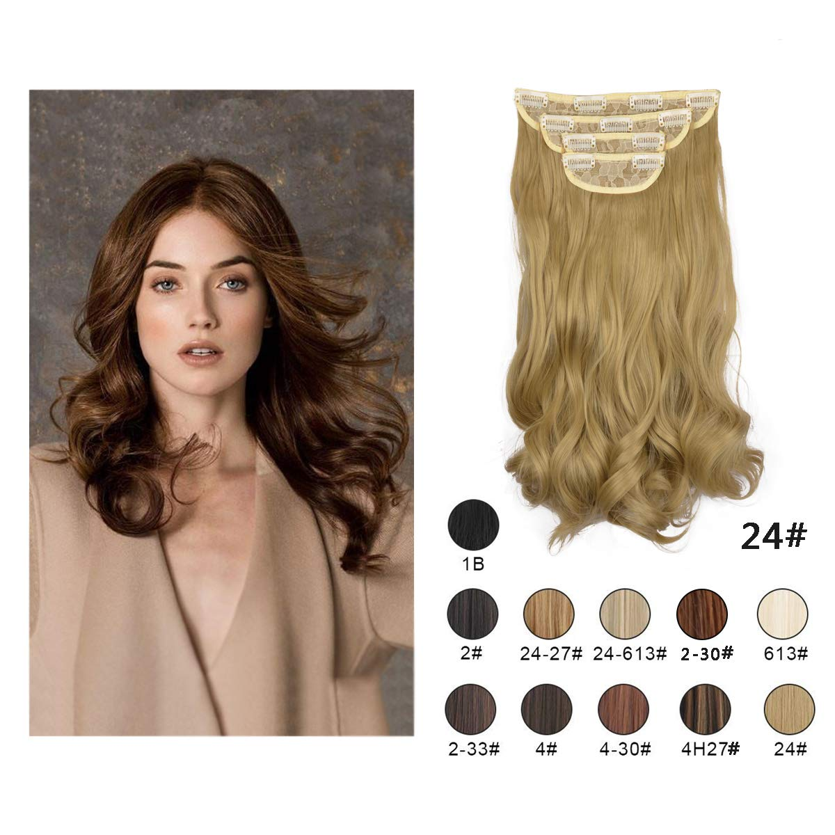 Barsdar 20'' Clips in Hair Extensions 4P11C Wavy Curly Hairpiece For Women lady Synthetic Heat Fiber Hair Extension (24#)