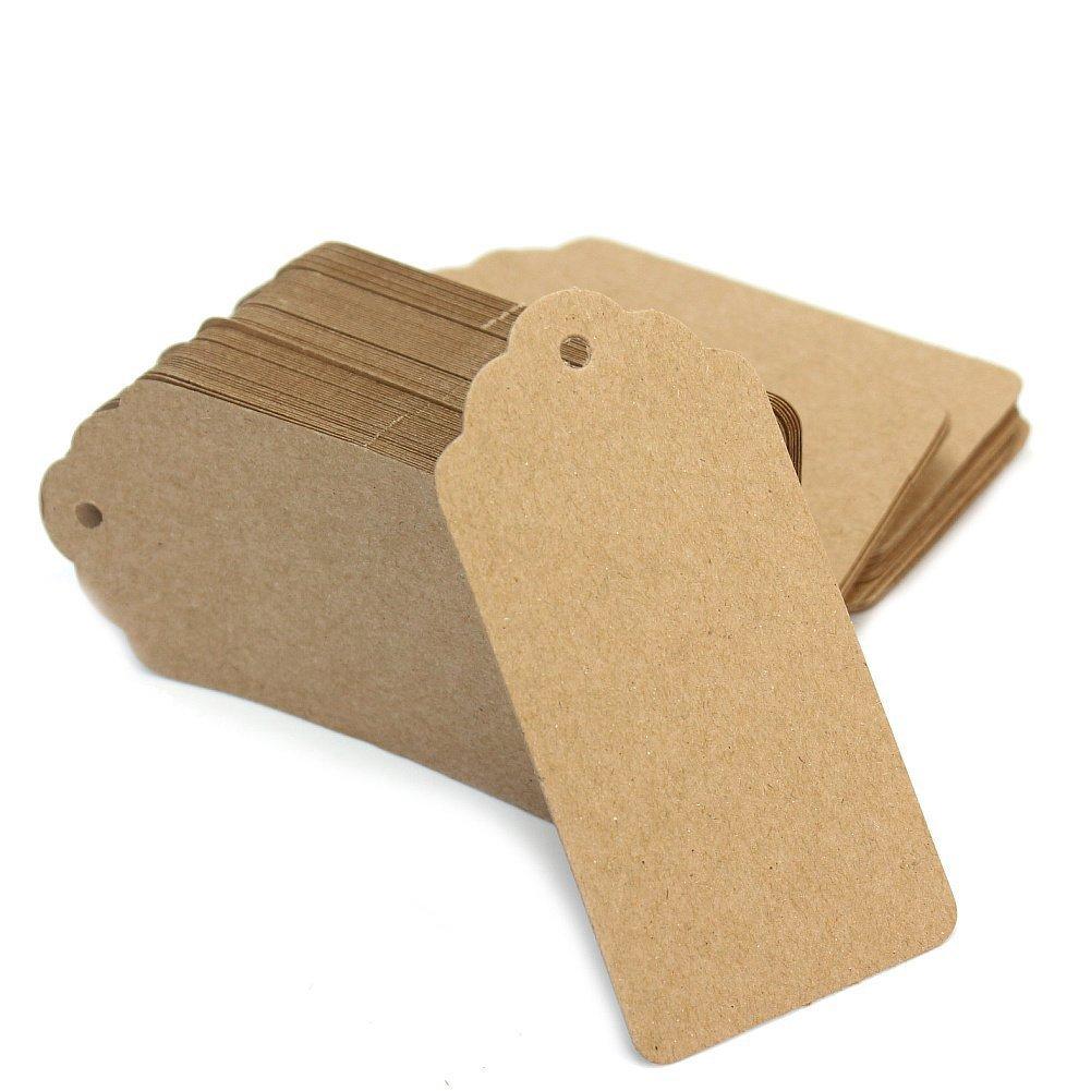 Westeng Set di 100 pezzi Etichette per Regali, in carta kraft etichette per bagagli, matrimonio