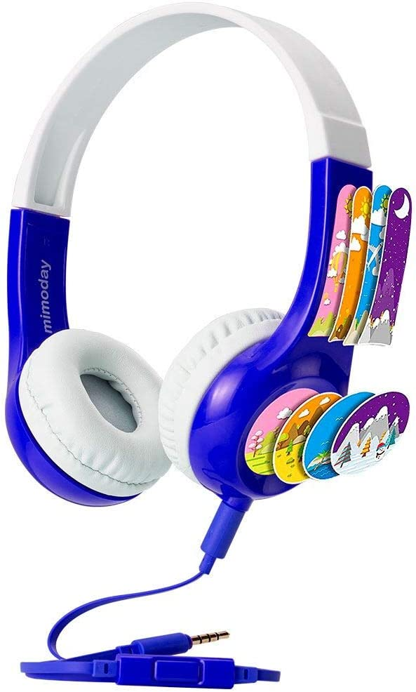 Kids Headphones [2020 Upgraded] Mimoday 85dB Volume Limited Hearing Protection Durable, Comfortable & in Line Mic , Kids Friendly Safe Food Grade Material, Great for School for iPad, Fire, All Tablets