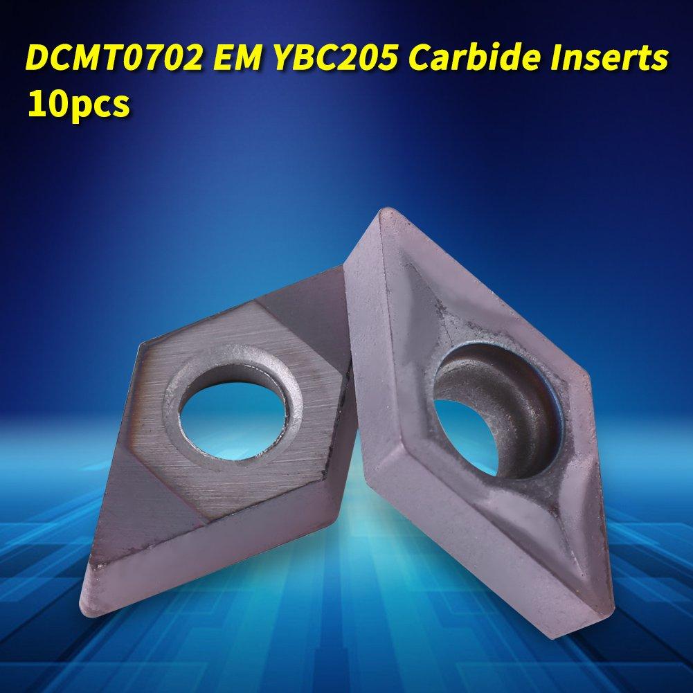 Doneioe 10 pi/èces DCMT0702 EM YBC205 inserts en carbure cl/é pour outil de barre de tournage de tour