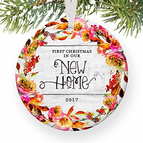 First Christmas In Our New Home 2017, 1st Xmas New House Homeowners Housewarming Apartment Condo from RE Agent Keepsake Floral Circle Ceramic Present 3