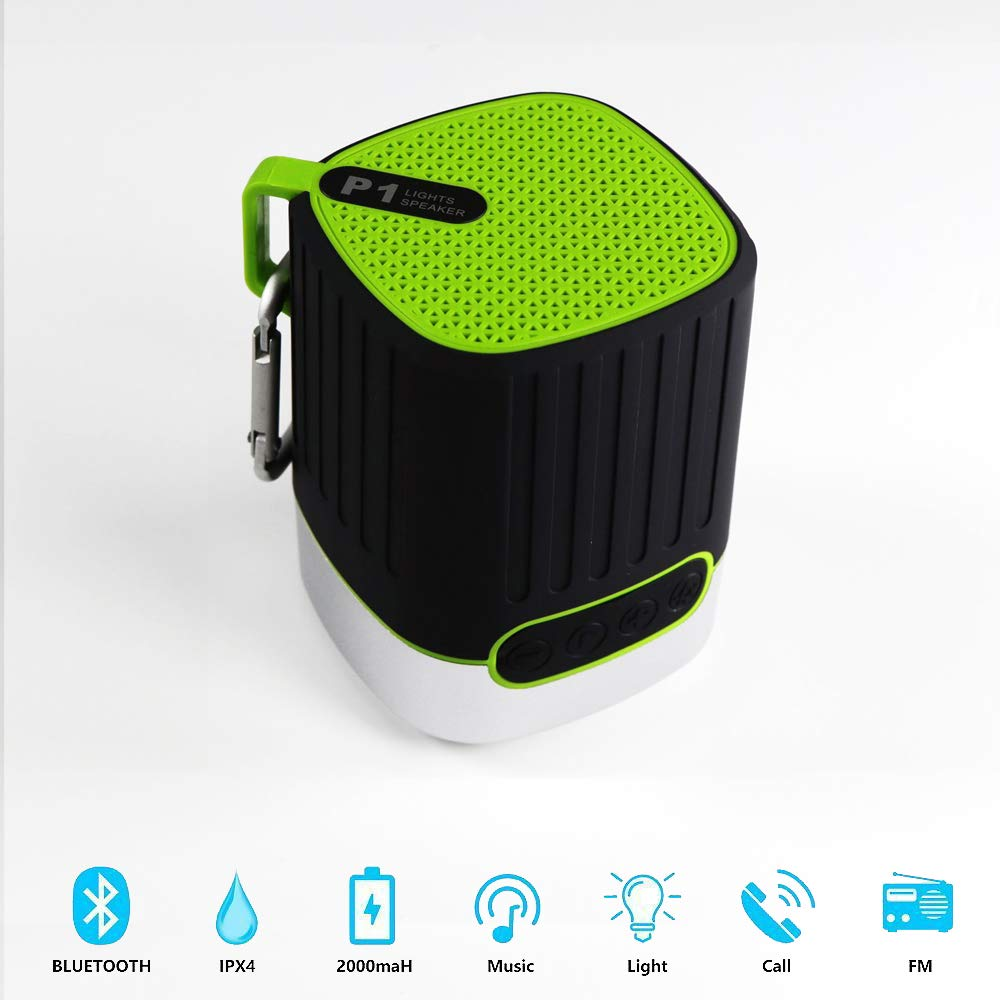 Bluetooth Speaker, Lesheng Power Portable Wireless Speaker with Flashlight Mini IPX4 Waterproof HiFi Bass Sound Box Support FM Radio,TF Card Slot,SOS for Indoor/Outdoor/Sports/Hiking/Camping(Green)