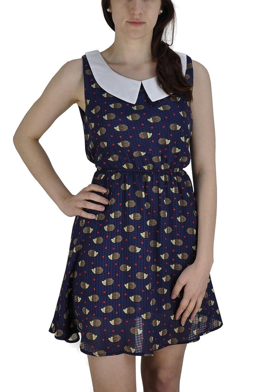 Frauen-Sommer-Sleeveless Hedgehog-Muster-Druck-Kleid-Partei-Abend ...