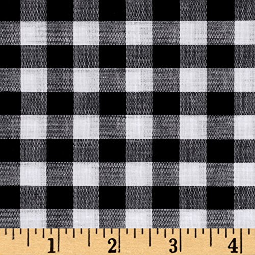 - Fabric Lawn Gingham Check Black/White Yard
